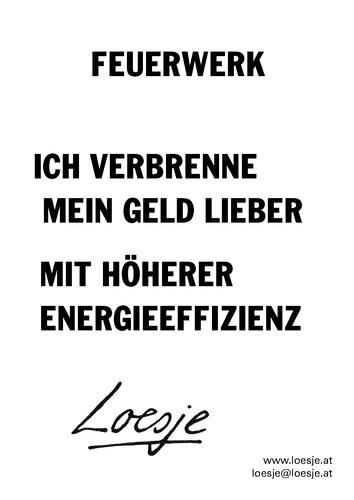 FEUERWERK / ICH VERBRENNE MEIN GELD LIEBER MIT HÖHERER ENERGIEEFFIZIENZ
