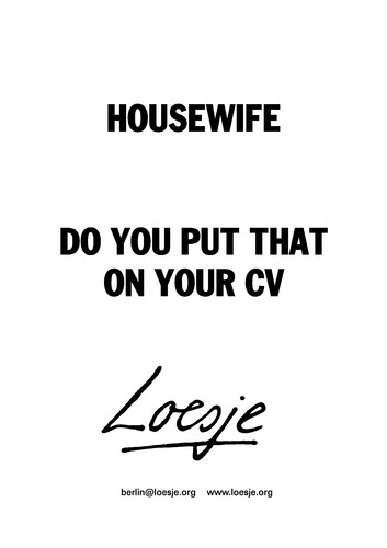 housewife    do you put that on your cv