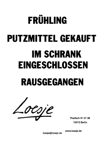 FRÜHLING / PUTZMITTEL GEKAUFT / IM SCHRANK EINGESCHLOSSEN / RAUSGEGANGEN