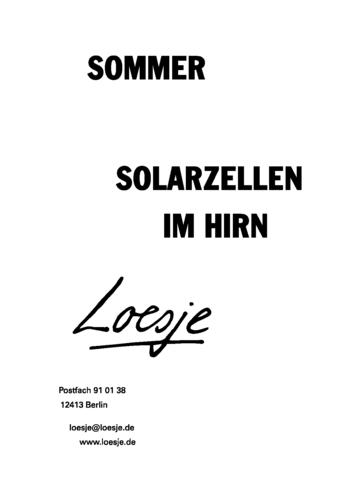 SOMMER / SOLARZELLEN IM HIRN