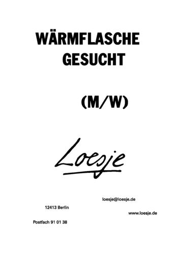WÄRMFLASCHE GESUCHT (M/W)