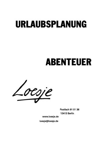 URLAUBSPLANUNG / ABENTEUER
