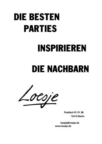 DIE BESTEN PARTIES / INSPIRIEREN DIE NACHBARN