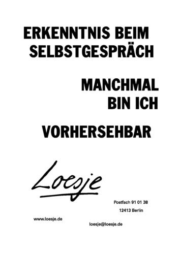 ERKENNTNIS BEIM SELBSTGESPRÄCH / MANCHMAL BIN ICH VORHERSEHBAR