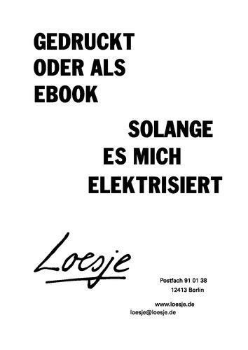 GEDRUCKT ODER ALS EBOOK / SOLANGE ES MICH ELEKTRISIERT